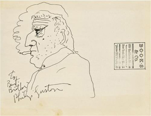 Philip Guston (American, 1913 - 1980) was a painter and printmaker in the New York School. His self-portrait is in ink on Books & Co. paper bag. It carries a $20,000-$30,000 estimate. Image courtesy Bloomsbury Auctions.