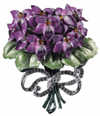 This costume jewelry pin that looks like a bouquet of violets was made by Mazer. The flowers are white metal covered with purple and green enamel. The 3-inch pin sold for $58 at a Morphy Auction in Denver, Pa.