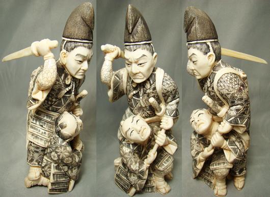 Japanese, carved ivory Samurai warriors, circa 1900, estimate $1,500-$3,000. Image courtesy Malter Galleries.