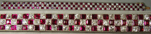 Lady's 7-inch ruby and diamond bracelet, estimate $4,600-$9,200. Image courtesy Malter Galleries.
