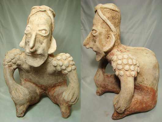 Western Mexico, Jalisco, circa 250 B.C.-350 A.D. figure of hunchback, estimate $4,500-$9,000. Image courtesy Malter Galleries.