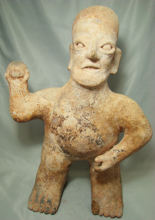 Western Mexico, Jalisco, circa 250 B.C.-350 A.D. figure of bell player, estimate $5,000-$10,000. Image courtesy Malter Galleries.