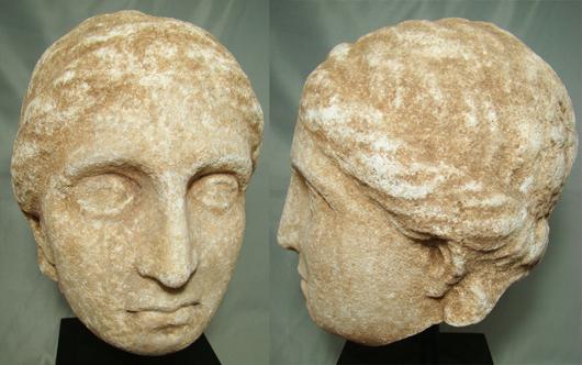 Greek, marble head of woman, estimate $14,000-$28,000. Image courtesy Malter Galleries.