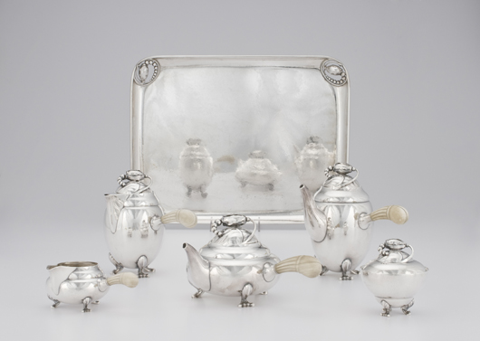 Georg Jensen sterling coffee and tea service in Blossom pattern (est. $20/30,000). Image courtesy Cowan's Auctions.