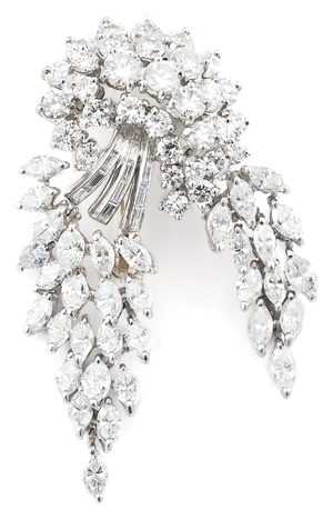 Platinum and diamond articulated brooch (est. $10/12,000)