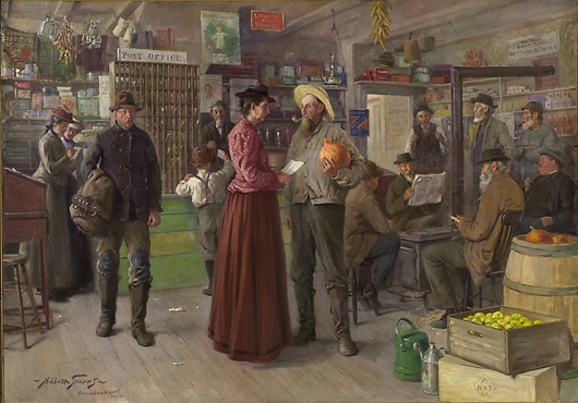 Important genre painting by Abbott Graves (est. $30/50,000). Image courtesy Cowan's Auctions.