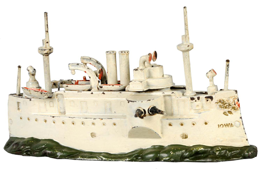 Cast-iron still bank replicating Battleship Iowa, circa 1902, manufactured by J.& E. Stevens. Estimate $3,000-$4,000. Image courtesy Morphy Auctions.