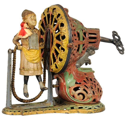 Cast-iron mechanical bank known as Girl Skipping Rope, manufactured by J. & E. Stevens Co. From original owners. Estimate $18,000-$22,000. Image courtesy Morphy Auctions.
