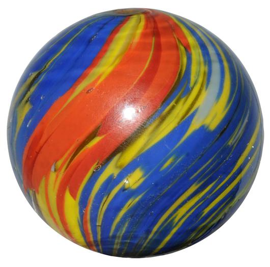 Joseph swirl marble, 1- 5/16 inches in diameter, brilliant colors. Estimate $800-$1,200. Image courtesy Morphy Auctions.