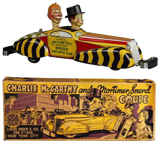 Marx Charlie McCarthy and Mortimer Snerd tin wind-up toy car with original box, 16 inches long, dated 1939. Provenance: Collection of Carl Lobel. Estimate $4,000-$6,000. Image courtesy Morphy Auctions.