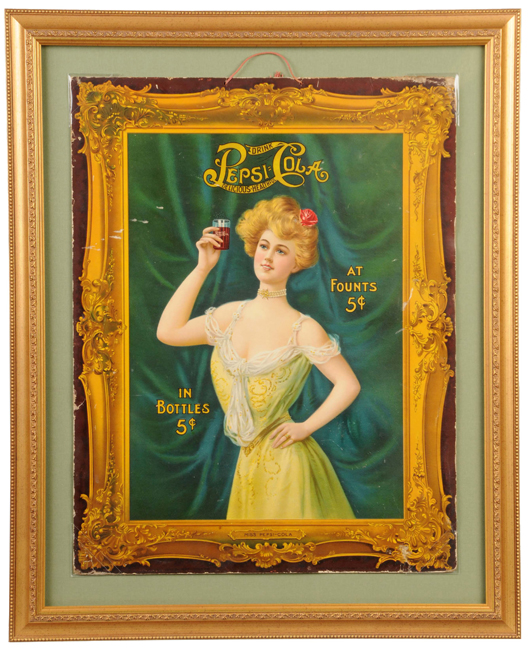 Miss Pepsi-Cola cardboard sign, copyright 1907, framed size 27½ inches by 34 inches. One of only three known examples. Estimate $7,000-$10,000. Image courtesy Morphy Auctions.