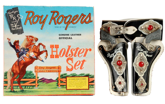 Roy Rogers toy gun double holster set with original box. Estimate $1,500-$2,000. Image courtesy Morphy Auctions.
