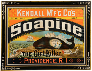 Circa-1890s lithographed-paper sign advertising Soapine Soap, Kendall Mfg. Co., Providence, R.I., with desirable whale image, 38 inches by 30 inches. Estimate $15,000-$20,000. Image courtesy Morphy Auctions.