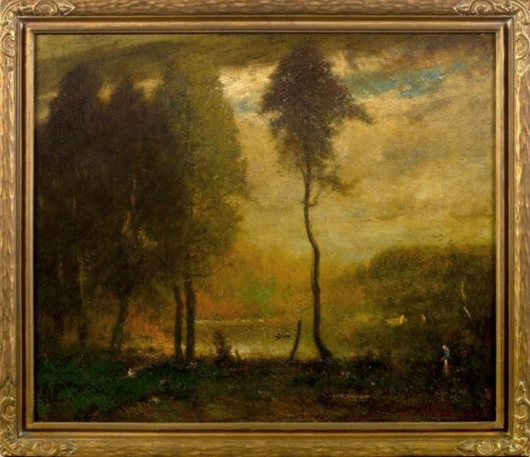 Elliott Daingerfield (American, 1859-1932) painted 'The Pond - Late Afternoon.' The oil on canvas, 30 1/2 by 36 inches, has a $40,000-$50,000. Image courtesy New Orleans Auction, St. Charles Gallery Inc.