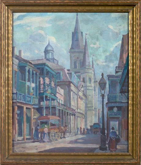 New Orleans native Clarence Millet (1897-1959) said that he painted what was familiar to him, like this street scene titled 'St. Louis Cathedral, New Orleans.' The 18- by 15-inch oil on canvas board carries an estimate of $8,000-$12,000. Image courtesy New Orleans Auction, St. Charles Gallery Inc.