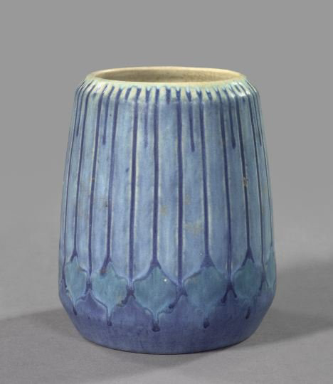 Newcomb College Pottery artist Sadie Irvine (1887-1979) decorated this 5 1/2-inch vase in the 'Artichock' décor in 1932. The art pottery vase carries a $2,500-$4,000 estimate. Image courtesy New Orleans Auction, St. Charles Gallery Inc.