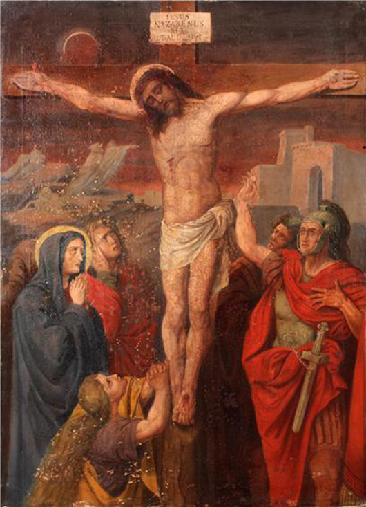 Stations of the Cross, oil on canvas, one of 10 19th-century Continental school paintings in the sale, estimate $2,000-$3,000 each. Image courtesy Aberdeen Auction Galleries.