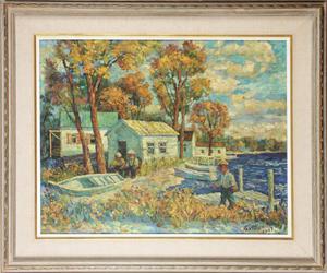 David Davidovich Burliuk (Russian, 1882-1967), Fisherman's House, oil on canvas, estimate $15,000-$20,000. Image courtesy Aberdeen Auction Galleries.