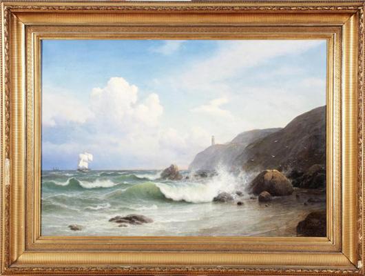 Gavril Pavlovic Kondratenko (Russian, 1854-1924), seascape, oil on canvas, estimate $10,000-$14,000. Image courtesy Aberdeen Auction Galleries.