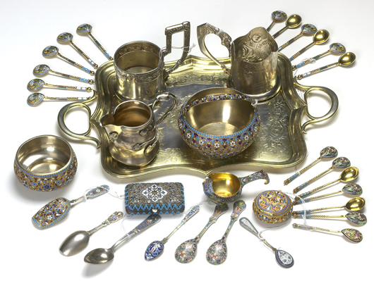 19th-century Russian silver and enameled items, by famous Russian makers. Image courtesy Aberdeen Auction Galleries.