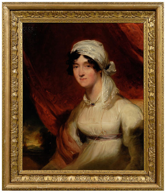 Accompanying this circa 1811 portrait of Jean Babington is an appraisal from Newhouse Galleries, dated December 22, 1982. Mrs. Babington is arrayed in a white empire gown with her hair wrapped in a scarf. At $46,000, her 30-1/8 inches by 25-3/8 inch Thomas Lawrence portrait was the highest priced painting in the two-day sale.