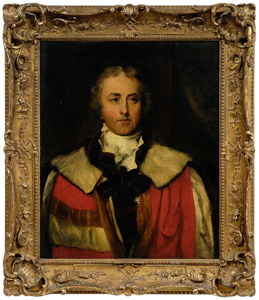 Unsigned, but attributed to Sir Thomas Lawrence (British, 1769-1830) is a half-portrait of James Hamilton, Marquess of Abercorn, in his earl's robes. The frame is early 20th century carved and gilt wood. Consigned by the Hickory Museum of Art, the 30-1/8 inch by 25 inch oil on canvas sold for $29,900.