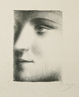Pablo Picasso titled this portrait of his young lover 'Visage.' The image on the unframed lithograph is 8 by 5 1/2 inches. It has a $20,000-$30,000 estimate. Image courtesy Fuller's Fine Art Ltd.