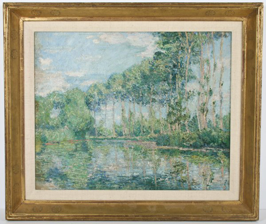 Blanche Hoschedé-Monet (French, 1865-1947) pointed 'Poplars au bord de l'Epte a Giverny' circa 1900. The oil on canvas painting, 18 1/4 by 22 inches, is in a hand-carved frame by Frederick William Harer (American, 1879-1948). Image courtesy Fuller's Fine Art Ltd.