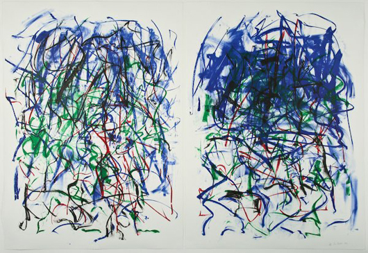 'Sunflowers II' is signed '33/34 Joan Mitchell 1992' with a blind stamp. The lithograph is under Plexiglas in a wood frame, 62 by 88 by 3 inches. Its estimate is $6,000-$9,000. Image courtesy Fuller's Fine Art Ltd.