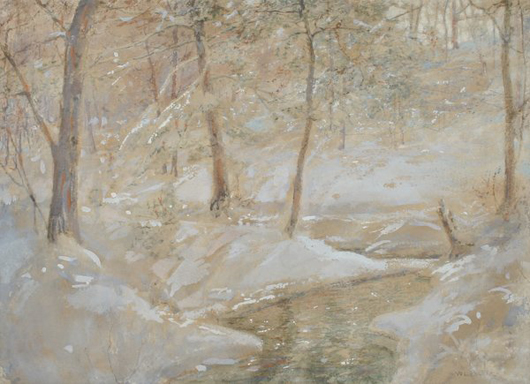 Walter Launt Palmer (American, 1854-1932) is highly regarded for his snow-covered landscapes. This scene, watercolor and gouache on paper, measures 12 1/2 by 16 1/2 inches. It has a $4,000-$6,000 estimate. Image courtesy Fuller's Fine Art Ltd.