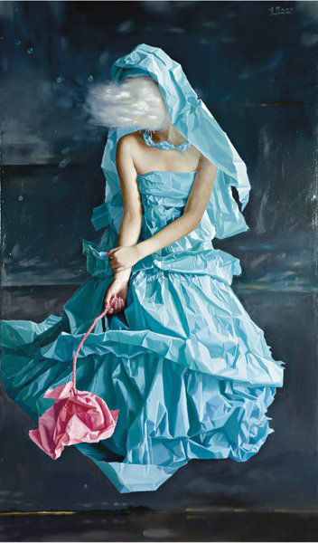 Zeng Chuanxing's 'Blue Paper Bride - Dreams' is oil on linen. It has a $65,000-$96,000 estimate. Image courtesy Phillips de Pury & Co.