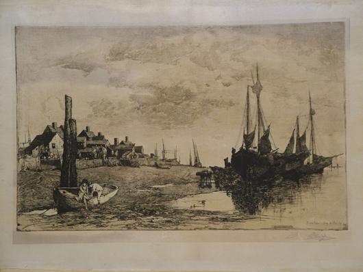 Stephen Parrish (1846-1938), Low Tide Bay of Fundy, painting on silk, circa 1880, plate signed and titled, also signed in pencil, 22 inches by 16 inches. Estimate $600-$700. Image courtesy The Antiques Auction Gallery.