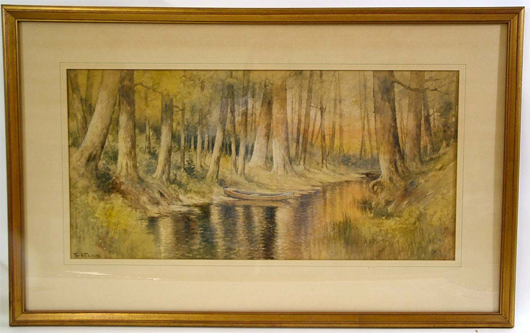 E. J. Fenn (American), late-19th-century watercolor, 33½ inches by 21 inches (framed). Estimate $350-$400. Image courtesy The Antiques Auction Gallery.