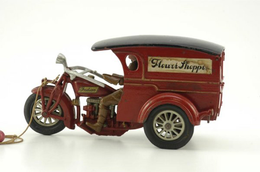 Circa-1930s Hubley Indian cast-iron motorcycle delivery van, 10 1/2 inches long, sold through LiveAuctioneers for $38,560. Image courtesy LiveAuctioneers.com and Bertoia Auctions.