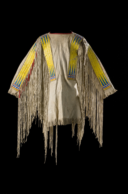 Fort Berthold quilled war shirt, $22,325. Image courtesy Cowan's Auctions.
