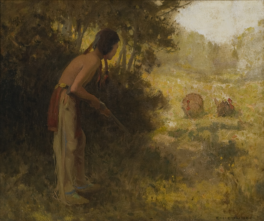 Turkey Hunter by Eanger Irving Couse, $47,587.50. Image courtesy Cowan's