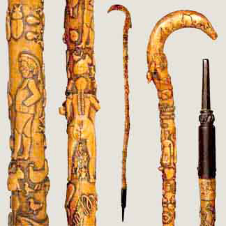 Early 19th-century Melvin E. Cummings folk-art cane from the estate of the artist, $4,600.