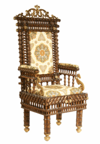 This huge example of recycling, a chair made with old, used wooden thread spools, sold for $490 at Thomaston Auction in Thomaston, Me. It is 53 1/2 inches high by 23 inches wide.