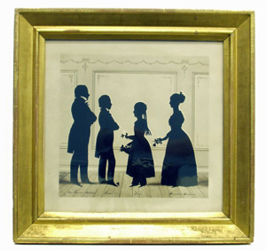 Dated 1840, this watercolor and ink silhouette by August Edouart depicts the Mathews family of Baltimore. The image measures 10 3/4 by 11 3/4 inches and has a $3,000-$5,000 estimate. Image courtesy Richard Opfer Auctioneering Inc.