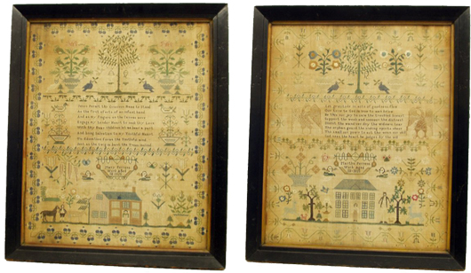 Sisters Mary Perrens, age 10, and Martha Perrens, age 13, completed these schoolgirl samplers in 1825. Both measure 25 by 20 1/2 inches. They will be sold as a single lot, which has an estimate of $15,000-$25,000. Image courtesy Richard Opfer Auctioneering Inc.