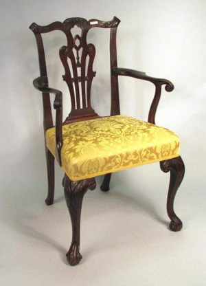 Bidding is anticipated to range from $3,000 to $5,000 for this fine George II carved mahogany armchair. Image courtesy Woodbury Auction LLC.