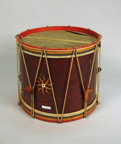 'George Kilbourne Base and Snare Drums, 119 Orange St., Albany N.Y.' is printed on a label of this Civil War-era drum. It could approach $1,000-$1,500 on Saturday at Woodbury Auction. Image courtesy Woodbury Auction LLC.