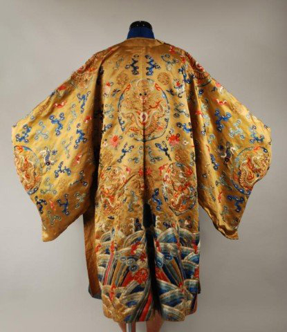 Embroidered with silk and gold metallic thread, this imperial dragon robe has a $3,000-$4,000 estimate. Image courtesy Woodbury Auction LLC.