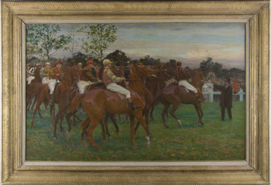 This signed oil on linen by French artist Adolphe Binet (1854-1897) rallied to $23,000. Leland Little Auction & Estate Sales Ltd.