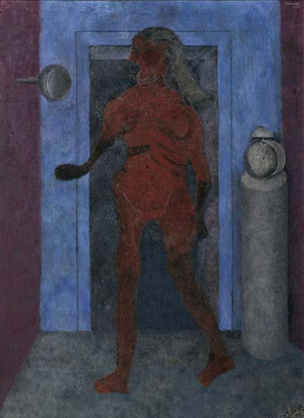Rufino Tamayo's 'Mujer en un interior,' (Woman in an Interior) demonstrates his fusion modernism forged links. The painting, oil and sand on canvas, measures 51 by 38 inches. It has a $400,000-$500,000. Image courtesy Phillips de Pury & Co.