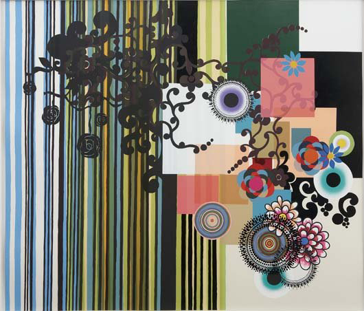 Beatriz Milhazes (b. 1960) often juxtaposes Brazilian cultural imagery and references to Modernist painting. 'As Irmãs,' (The Sisters), a screenprint on paper, 52 by 60 inches, is numbered 7/35. The 2003 work has a $14,000-$18,000 estimate. Image courtesy Phillips de Pury & Co.
