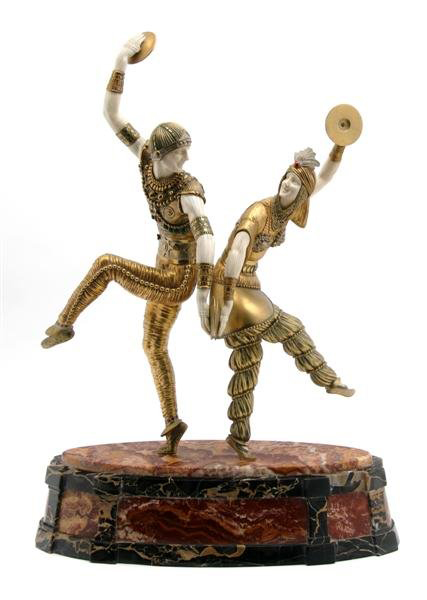 Demetre H. Chiparus (Romanian, 1886-1947) created 'Danseurs Russes' in cold painted bronze and ivory. Raised on a stone plinth, the taller dancer stands 25 inches high. The estimate is $60,000-$80,000. Image courtesy Leslie Hindman Auctioneers Inc.