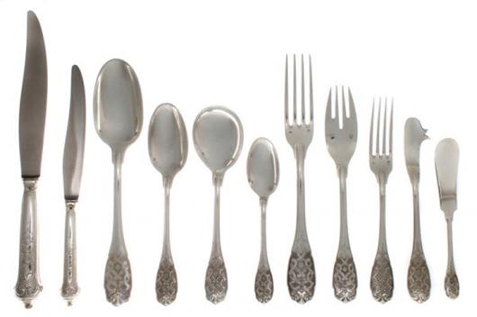 The Emile Puiforcat silver flatware service in Leslie Hindman's auction has a total of 91 pieces. It lacks four teaspoons for a complete service for 10. It has a $12,000-$18,000 estimate. Image courtesy Leslie Hindman Auctioneers Inc.