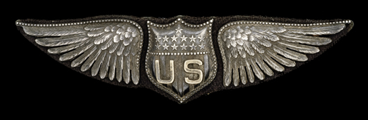 WWI jeweler-made bombardier's wings, estimated to sell for $800/1,200 in Cowan's Nov. 4, 2009 Fall Firearms and Early Militaria Auction.
