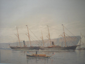 Ships On the Hudson River, Under the Palisades, 1883/4, published by Frederick Schiller Cozzens (American: 1846-1928), colored lithograph mounted on card, signed and dated 1/1 in printing. Dimensions: 14¼ inches by 20¼ inches. Presale estimate $300-$500. Image courtesy LiveAuctioneers and Housing Works.